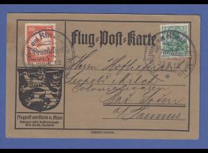 DR Flugpost am Rhein und Main 20 Pfg. E.EL.P. auf Karte Frankfurt 23.6.12