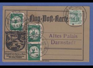 Dt. Reich Flugpost am Rhein und Main 3x30Pfg auf Karte Darmstadt 23.6.12