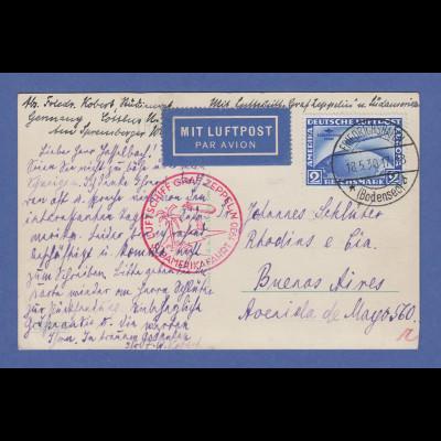 Dt. Reich Zeppelin LZ 127 Südamerikafahrt 1930 Mi.-Nr. 438 EF auf Postkarte