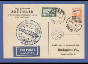 Zeppelin LZ 127 Ungarnfahrt 1931 Karte mit Ungarn Frankatur Mi.-Nr. 430 und 478
