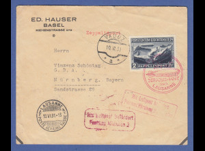 Dt. Reich Zeppelin LZ 127 Liechtenstein Mi.-Nr. 115 auf Brief Lausanne-Fahrt