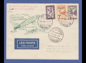 Zeppelin LZ 127 Ungarnfahrt 1931 Brief mit Ungarn Frankatur Mi.-Nr. 478-479 ect.