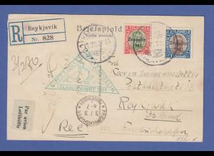 Zeppelin LZ 127 Islandfahrt 1931 R-Karte mit Island Nr. 147, 148 nach Reykjavik