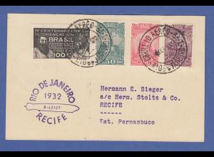 Zeppelin LZ 127 6. Südamerikafahrt 1932 Karte Rio-Recife mit brasil. Frankatur