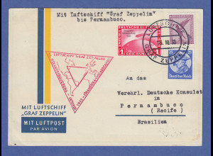 Zeppelin LZ 127 Chicagofahrt 1933 Mi.-Nr. 496 auf Postkarte nach Brasilien