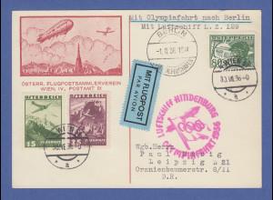 Zeppelin LZ 129 Karte aus Österreich auf Olympiafahrt nach Berlin befördert 1936