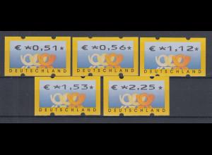 Deutschland ATM 3 Posthörner, €-Währung Sielaff Mi-Nr. 4.1 Satz 0,51-2,25 **