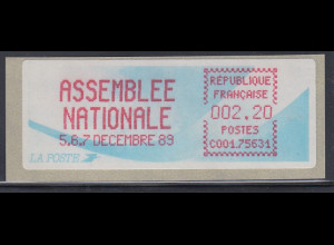 Frankreich Sonder-ATM ASSEMBLEE NATIONALE 5,6,7 Decembre 89 ** SELTEN !