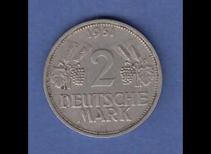 Bundesrepublik Kursmünze 2 D-Mark 1951 G sehr schön !