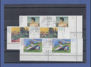 Bundesrepublik 1994 Malerei Mi.-Nr. 1748-50 Eckrandpaare mit Formnummer gestemp.