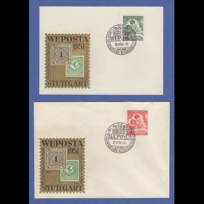 Berlin Tag der Briefmarke 1951 Mi.-Nr. 80-81 Satz auf 2 Sonder-O Belegen WÜPOSTA
