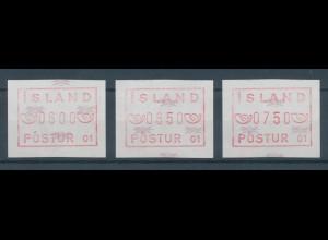 Island FRAMA-ATM 1. Ausgabe 1983, Satz 600-650-750 Aurar **