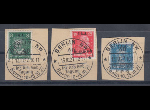 Deutsches Reich I.A.A. 1927, Mi.-Nr. 407-409 kpl. mit Sonder-O auf Briefstücken