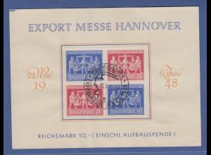 Alliierte Besetzung Hannover-Messe Mi.-Nr. 969-70 Viererblock mit ET-O auf Karte