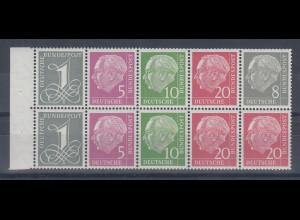 Bundesrepublik: Heuss Heftchenblatt Mi.-Nr. 8 Y mit 8Pfg. Heuss in guter Type I