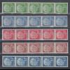 Bundesrepublik: Heuss-fluoreszierend je ein 5er-Streifen mit roter Zählnummer