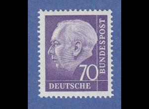 Bundesrepublik: Heuss 70 Pfg violett Mi.-Nr. 263 Rollenmarke mit Zählnummer **