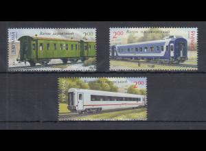Ukraine 2012 Eisenbahn Personenwagen Satz 3 Werte ** Mi.-Nr. 1256-1258
