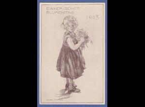 Bayern Privat-Ganzsache BAYERISCHER BLUMENTAG 1913, ungebr. Top-Zustand