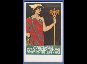 Bayern Privat-Ganzsache Ausstellung Büro und Geschäftshaus 1913 , Top-Zustand