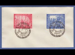 Leipziger Messe 1947 Mi.-Nr. 965-66 auf Umschlag mit Sonder-O LEIPZIG 7.9.47