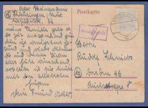 Gebühr bezahlt DR-Ganzsache mit überklebtem Hitler-Werstempel, Schleusingen 1945
