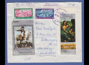 Jemen 1969 echt gelaufener Brief mit Sondermarken (auch rücks.) gel nach München