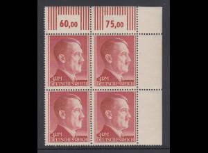 Deutsches Reich 1944 Hitler-3RM-Wert Mi.-Nr. 801B Eckrandviererblock **