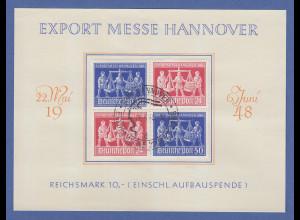All. Besetzung Hannover-Messe 1948 normaler 4er-ZSD V Zd 1 gestempelt a. Karte