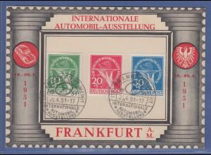 Berlin Mi.-Nr. 68-70 kpl. mit So-O Automobil-Austellung Frankfurt 1951 auf Karte