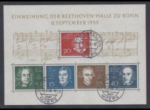 Bundesrepublik 1959, Beethovenblock, Mi.-Nr. Block 2 mit Tages-Stempel KAPELLEN