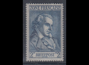 Französische Zone 1946 , 2 Mark Friedrich Schiller Mi.-Nr. 12 einwandfrei **