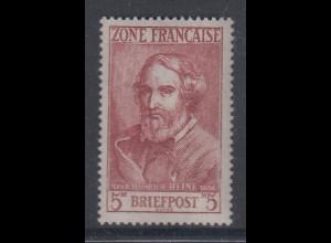 Französische Zone 1946 , 5 Mark Heinrich Heine Mi.-Nr. 13 einwandfrei **