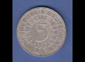 Bundesrepublik Kursmünze 5 Mark Silber-Adler 1951 F