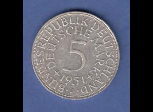 Bundesrepublik Kursmünze 5 Mark Silber-Adler 1951 J