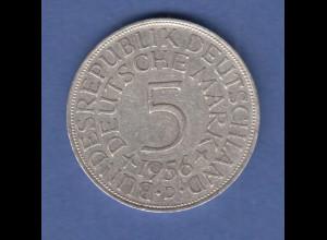 Bundesrepublik Kursmünze 5 Mark Silber-Adler 1956 D