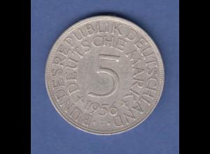 Bundesrepublik Kursmünze 5 Mark Silber-Adler 1956 F