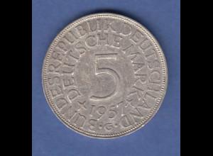 Bundesrepublik Kursmünze 5 Mark Silber-Adler 1957 G