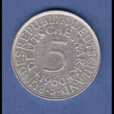 Bundesrepublik Kursmünze 5 Mark Silber-Adler 1960 D