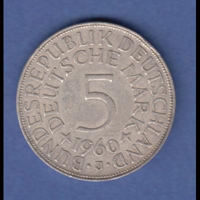 Bundesrepublik Kursmünze 5 Mark Silber-Adler 1960 J