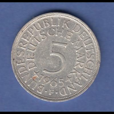 Bundesrepublik Kursmünze 5 Mark Silber-Adler 1965 F
