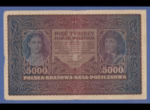 Banknote Polen 1920 zu 5000 Mark, gebraucht
