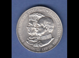 Sachsen Silber-Gedenkmünze 500 Jahre Universität Leipzig 2 Mark 1909 stempelgl.