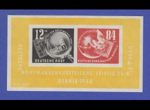 DDR 1950 DEBRIA-Block mit Plattenfehler Strich über 9, Mi.-Nr. Block 7 I **