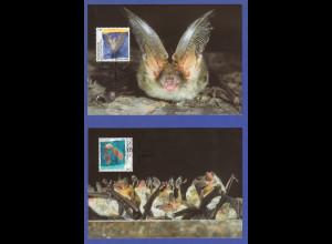 Liechtensten Fledermäuse 2005 Mi.-Nr. 1389-1390 Satz 2 Werte auf Maximumkarten