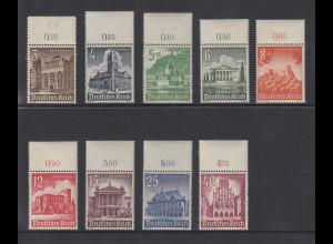 Deutsches Reich 1940 WHW Bauwerke Mi.-Nr. 751-759 Oberrand-Satz kpl. **