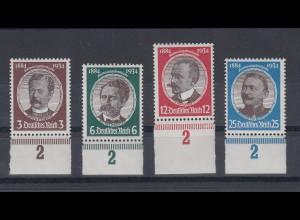 Deutsches Reich 1934 Kolonialforscher Mi.-Nr. 540-43 Unterrand-Satz **