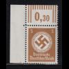 Dt. Reich Dienstmarke 3 Pfg. ohne Wz Mi.-Nr. 166 Walzendruck-Eckrandstück **