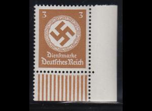 Dt. Reich Dienstmarke 3 Pfg. ohne Wz Mi.-Nr. 166 Walzendruck-Eckrandstück UL **