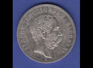 Deutsches Kaiserreich Sachsen König Albert Kursmünze 5 Mark 1901 vzgl.